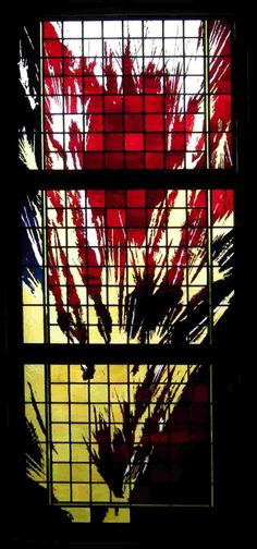 """""""Fire"""" - Sacred Heart C.C., Punta Gorda, FL, 2008    3'6""""x8'6"""" etching and fire polishing on flashed glass with silver stain."""