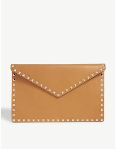 Valentino Rockstud envelope leather clutch #valentino #luxury #fashion #style #accessories #ad #handbags #clutch  #rockstud #designer #bags Valentino Rockstud, Valentino Clothing, Ugly To Pretty, Selfridges & Co, Chinese English, Envelope Design, Leather Clutch Bags, Luxury Shoes