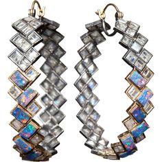 Nak Armstrong Red Opal & Rainbow Moonstone Hoop Earrings ($5,775) ❤ liked on Polyvore
