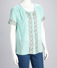Mint Embroidered Button-Up Top....so pretty and feminine!