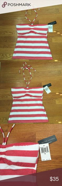 NWT~Ralph Lauren Swim Top NWT~Ralph Lauren Red and White Stripe Tankini Top Size S.  This top is so adorable! As you can see from the photos it does not have the normal sheen of a typical swimsuit (even though it is a swimsuit). It resembles more of a soft cotton T-shirt so after swimming it would be totally adorable with a pair of cut off jeans! There are removable cups in the chest. Ralph Lauren Swim