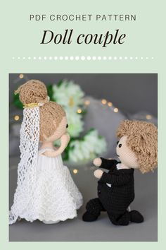 Two crochet dolls with wedding outfits - PDF pattern bundle - 4 patterns. Etsy/Ravelry. Girl doll has 11 more outfits available. Amigurumi doll pattern. Crochet Toys Patterns, Stuffed Toys Patterns, Crochet Dolls, Crochet Hats, Project Yourself, Make It Yourself, Crochet Wedding, Types Of Yarn, Other Outfits