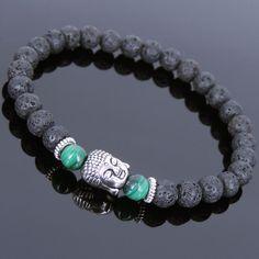 Men's Women Lava Rock Malachite Bracelet Tibetan Silver Buddha Handmade T128 #Handmade #Beaded