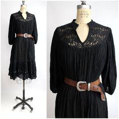 black cotton tent dress | vintage lace yoke gypsy dress | tiered skirt bohemian dress | S-M-L