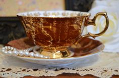 Superb Red and Gold Queen Anne Teacup and Saucer Set, English Bone China Teacup And Saucer, ca.1950-