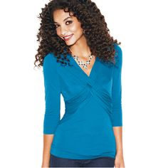 Knot Detail Top, reg. $29.99  ~~  What do you get when you blend a strikingly bold uni-color top with a tablespoon of intertwining fabric and two doses of 3/4 sleeves? You get this fabulous creation, with sex appeal on top!