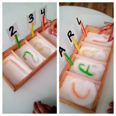 Sensory activities for numbers and letters Montessori Activities, Toddler Activities, Preschool Activities, Preschool Education, Preschool Classroom, Learning Centers, Kids Learning, Alphabet Activities, Early Childhood Education