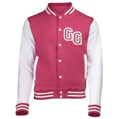 KIDS FRONT INITIAL STEP PERSONALISATION VARSITY JACKET (Large - 9/11 - Hot Pink / White) NEW PREMIUM Unisex American Style Letterman College Baseball Custom Top Boy Girl Children Child Gift Present AWD Soulstar Omega Personalised Bomber - By 123t
