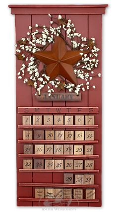 Red Barn Star Calendar $99 aw man I hav to hav this for my country themed kitchen