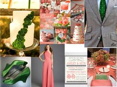 Emerald Green and coral deco