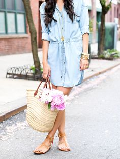 Looking chic and bright on the streets of New York in our light denim chambray shirtdress | With Love from Kat