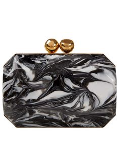 Stella McCartney Black and White Marbled Box Clutch | Accessories by Stella McCartney | Liberty.co.uk