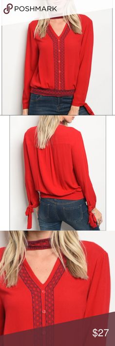 """Red V-neck top w/choker & embroidery details, New! Long sleeve top with a v neckline and choker with embroidery details. 100% rayon. Size small measurements:Description: L: 21"""" B: 32"""" W: 32"""" trendy boutique Tops Blouses"""