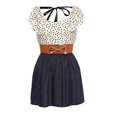 Women's Fashion High Waist Casual Dots Short Dress with Belt ($24) ❤ liked on Polyvore featuring dresses