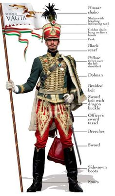 The Hussars - In the first half of the century, a light cavalry appeared on the battlegrounds of Europe called the Hungarian hussars. Historical Costume, Historical Clothing, Folk Costume, Costumes, Hungary History, Hungarian Embroidery, Napoleonic Wars, My Heritage, Military History