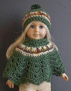 Ganchillo Poncho y sombrero en verde con Tan y por Lavenderlore