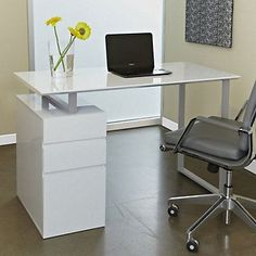 Tribeca Modern Compact Writing Desk with Storage - 48 x 24, 220-ESP. This desk adds flare to any small space with its simplistic lines and sharp edges.