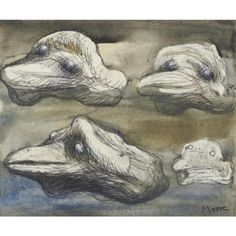 Henry Moore >> Four Views Of A Pebble - Idea For Sculpture