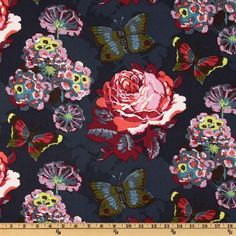 Anna Maria Horner LouLouThi Clippings Passion from @fabricdotcom  Designed by Anna Maria Horner for Free Spirit, this cotton floral cotton print fabric is perfect for quilts, home décor accents, craft projects and apparel. Colors include lime, lavender, fuchsia, teal and orange.