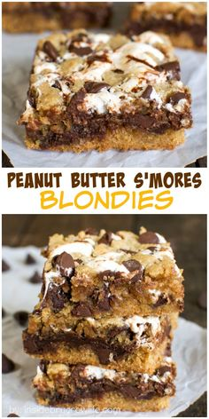 Peanut Butter S'more Blondies - swirls of gooey marshmallow and fudge add a fun texture to this easy peanut butter bar recipe!