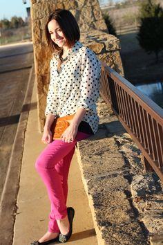 J. Crew dot jacquard blouse; Gap fuchsia skinny jeans; Tory Burch clutch
