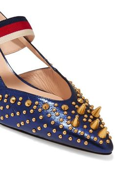 Gucci - Bamboo-trimmed studded metallic leather pumps - #metallicleather - Gucci - Bamboo-trimmed studded metallic leather pumps... Gold Ballet Flats, Leather Ballet Flats, Leather Pumps, Block Heel Loafers, Heeled Loafers, Gucci Bamboo, Black Pumps Heels, Leather Espadrilles, Dress And Heels