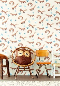 """If you want to add a touch of wilderness into your kids' bedrooms, then Eijffinger """"Tout Petit"""" wallpaper collection is the way to go! Foxy Wallpaper, Forest Wallpaper, Wallpaper Online, Animal Wallpaper, Wallpaper Collection, Braun Design, Playroom Organization, Minimal Decor, Kids Room Design"""