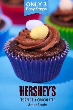"Hershey's ""Perfectly Chocolate"" Chocolate Cupcakes are an easy and delicious dessert that will please your guests this Easter! Cupcake Recipes, Baking Recipes, Cookie Recipes, Cupcake Cakes, Dessert Recipes, Easter Cupcakes, Cup Cakes, Chocolate Cupcakes, Jars"