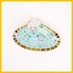 XL Mosaic Sea Shell Engagement Ring Holder Dish in Sea Green and Gold Stained Glass - Venue and reception decor (*Amazon Partner-Link)