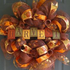 Fall Deco Mesh Wreath with Wooden 'Harvest' by WreathsByTheSea, $65.00