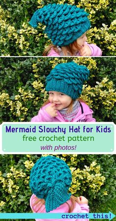 Mermaid Slouchy Hat for Kids – FREE Crochet Pattern! Mermaid Slouchy Hat for Kids – FREE Crochet Pattern!,Best of Crafty Kitty Crochet! Looking for a comfy and adorable DIY hat for the kids in. Crochet Baby Hats Free Pattern, Crochet Kids Hats, Crochet For Boys, Free Crochet, Crochet Toddler Hat, Quick Crochet, Unique Crochet, Crochet Slouchy Hat, Slouchy Beanie