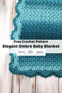 I love this simple and elegant baby blanket! Includes a full video tutorial, too! I am definitely making this for my next baby shower. I can't believe this is a FREE crochet pattern! Baby Afghan Crochet, Crochet Blanket Patterns, Baby Patterns, Stitch Patterns, Baby Afghans, Baby Blankets, Simple Crochet Blanket, Crochet Shell Stitch, Crochet Stitches