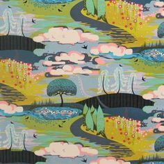 ONE YARD of of cotton fabric Fantasy woodland scene in greens, blue, pinks Fibs & Fables by Free Spirit 44 Wide Cotton Machine Wash Orla Kiely Fabric, Marimekko Fabric, Japanese Fabric, Fabric Online, Fabric Swatches, Enchanted, Printing On Fabric, Cotton Fabric, Vibrant