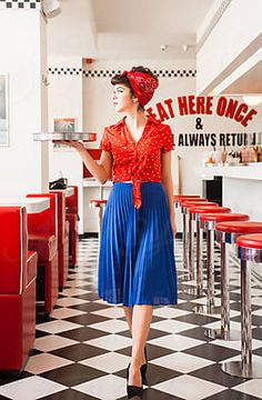 Pin up rockabilly waitress woeking in diner restaurant. by Audrey Shtecinjo - Stocksy United Pin Up Photography, Glamour Photography, Fashion Photography, Portrait Photography, Modeling Photography, Rockabilly Fashion, Retro Fashion, Rockabilly Girls, Rockabilly Style