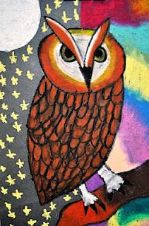 Oil pastel owls (5th grade, but thinking best for younger)