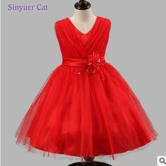 Sinyuer Cat  Girl Dresses Children Dress Party Summer Princess Baby Girl Wedding Dress Birthday Big Bow 4 color #Affiliate