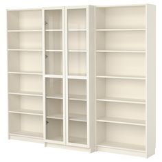 BILLY Bookcase combination with doors - white - IKEA