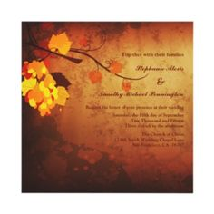 Fall leaves vintage distressed wedding invitation perfect for an autumn wedding!