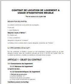Contrat de location meublée - Modèle Word et PDF prêt à télécharger
