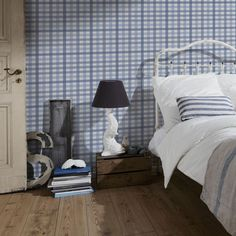 Gingham 'Checker' Geometric wallpaper in Navy Blue, Blue and White in Home, Furniture & DIY, DIY Materials, Wallpaper | eBay