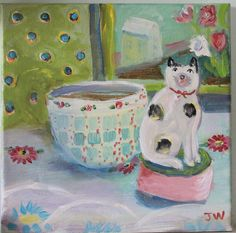 cat and bowl wrapped canvas