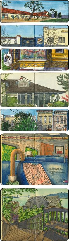 Drawn the Road Again is a sketch blog by Chandler O'Leary in which she chronicles her travels in the form of line and watercolor drawings in Moleskine sketchbooks.