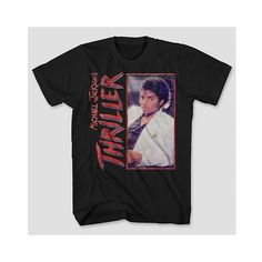 Michael Jackson Men's Thriller T-Shirt ($13) ❤ liked on Polyvore featuring men's fashion, men's clothing, men's shirts, men's t-shirts, black, mens leopard print t shirt, mens cotton t shirts, mens patterned shirts, mens print shirts and mens t shirts