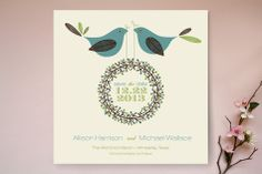 Two Little Birdies Told Me Save the Date Cards by Blonde Ambition at minted.com