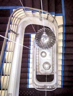 Lyon, Hotel Hallway, Beautiful Stairs, Stairways, Ceiling Lamp, Lighting Design, Modern Decor, Home Appliances, Indoor