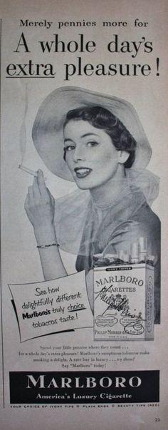 1950 Ad Marlboro America's Luxury Cigarette Pretty Woman in Hat Photo Print Ad | eBay