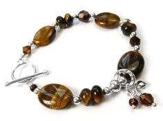 Gemstone Bracelet - Tiger Eye Sterling Silver Bracelets, Gemstone Jewelry, Indigo, Swarovski Crystals, Gemstones, Jewellery, Eyes, Jewelery