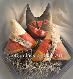 Primitive Candy Corn Black Cat Bowl by CottonPickingFolkArt