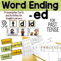 Word Ending -ed, Pronunciation Sorts and Activities - tamina English Activities, Reading Activities, Powerpoint Lesson, Reading Words, Past Tense, English Language Learners, Vocabulary Cards, Fiction And Nonfiction, Teaching English