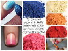 Ombre nails with pigments